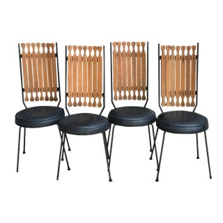 Arthur Umanoff Mid Century Modern High Back Dining Chairs - Set of 4 For Sale