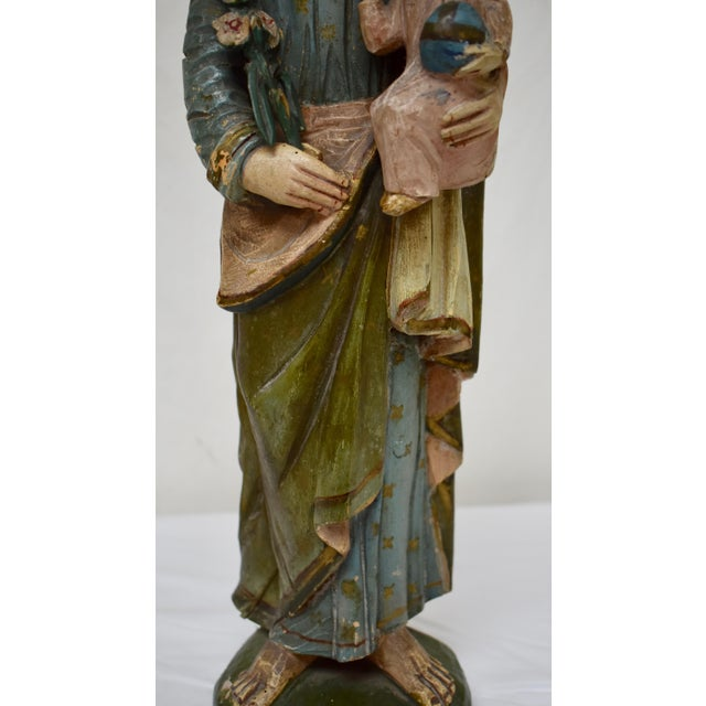 Late 19th Century Hand-Carved Wooden Sculpture of Saint Joseph and the Christ Child For Sale - Image 5 of 13