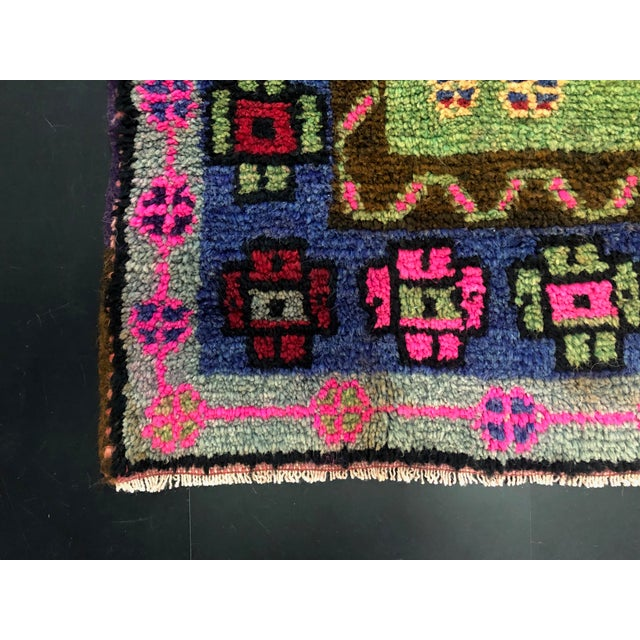 Traditional Anatolian Aztec Antique Blue Green Pink and Red Turkish Oushak Rug For Sale - Image 11 of 12