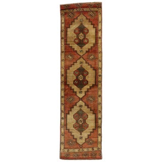 20th Century Rustic Turkish Oushak Hallway Runner - 2′8″ × 9′10″ For Sale