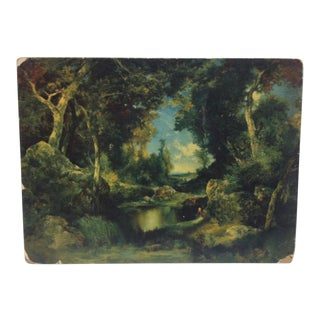 """Early 20th Century Antique """"Woodland Majesty"""" Moran Mounted Print For Sale"""