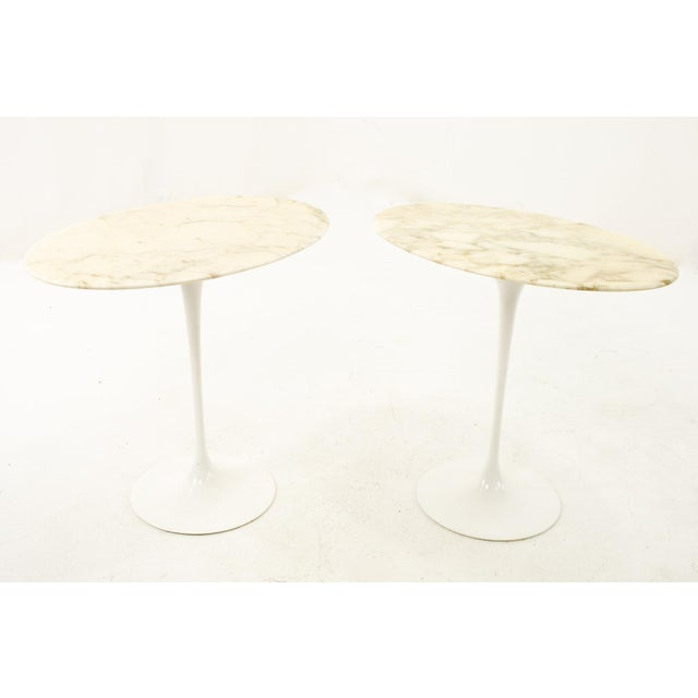 Knoll Mid Century Oval Marble Top Side End Tables With Tulip Base - a Pair For Sale - Image 12 of 12
