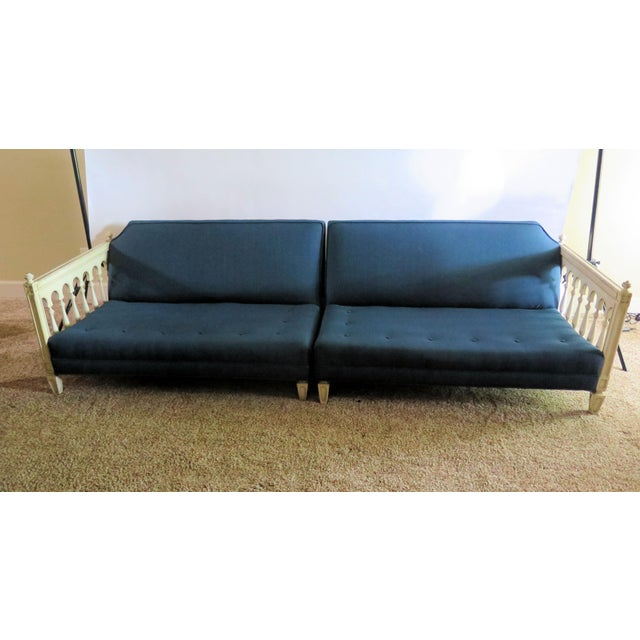 Hollywood Regency Distressed Frame Royal Blue 2 Piece Sofa For Sale - Image 3 of 9