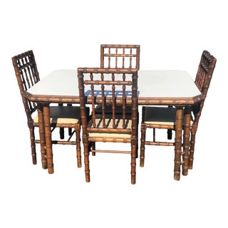 Faux Bamboo Table With Four Matching Chairs For Sale
