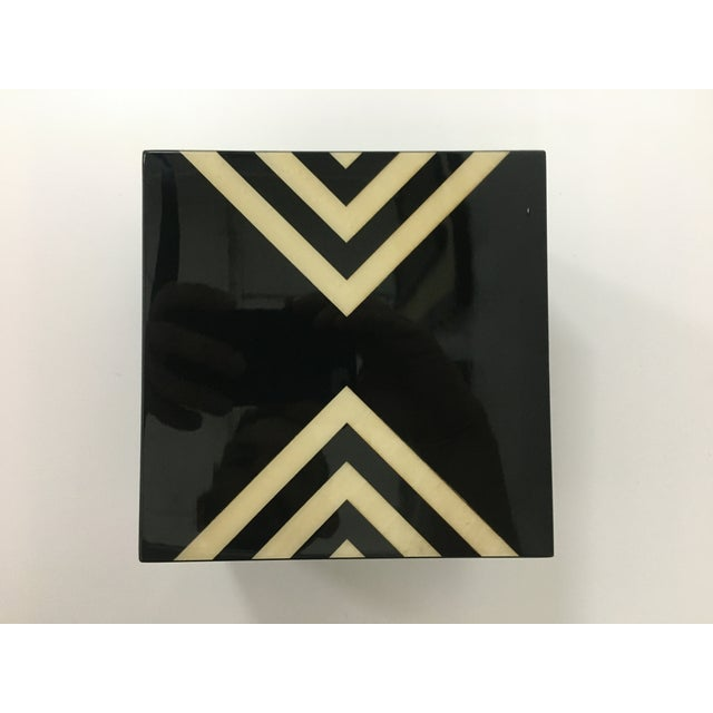 Modern Ercolano Black Lacquer Box With Geometric Motif For Sale - Image 3 of 12