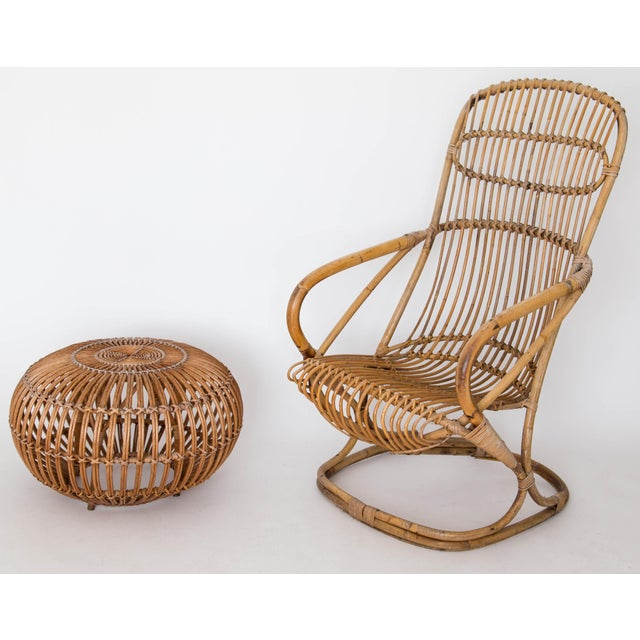 Franco Albini Rattan Lounge Chair & Ottoman For Sale - Image 11 of 11