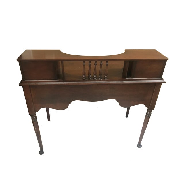 Vintage Small Oak Writing Desk with Spindle Detail and Raised Drawers.  Dimensions: 40
