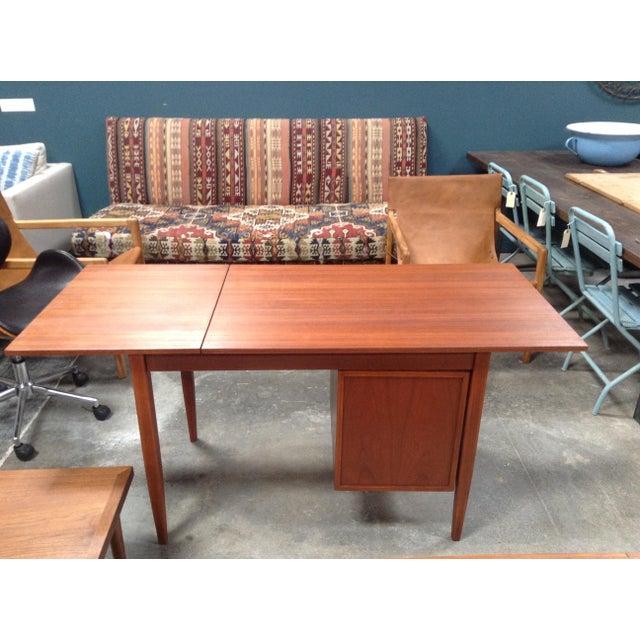 Mid-Century Modern Walnut Tanker Desk For Sale - Image 4 of 6