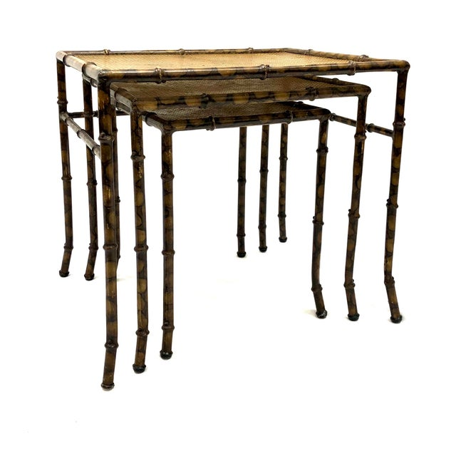 Bamboo 20th Century Chinoiserie Faux Painted Steel Bamboo Nesting Tables - Set of 3 For Sale - Image 7 of 12
