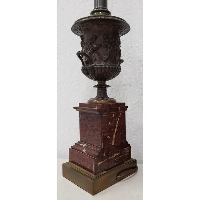 Vintage Classical Roman Bronze Urns & Marble Table Lamps - a Pair For Sale In San Francisco - Image 6 of 11