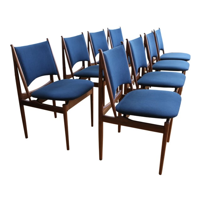 Mid Century Modern Teak Dining Chairs in Navy Blue - Set of 8 For Sale