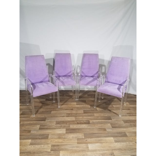 Vintage Mid Century Tri-Mark Tulip Purple and Lucite High Back Chairs- Set of 4 For Sale - Image 13 of 13