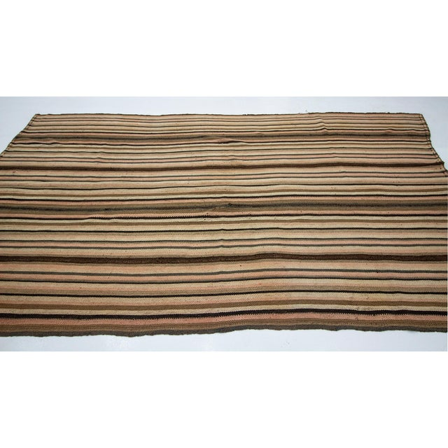 Contemporary 1960s Vintage Striped Turkish Kilim Rug- 6′2″ × 10′7″ For Sale - Image 3 of 7