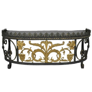 French Art Nouveau Wrought Iron Grapevine Maple Leaf Wall Mounted Console Table For Sale