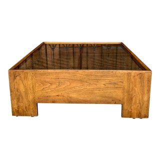 1960s Mid Century Modern Drexel Heritage Wood Briar Coffee Table For Sale