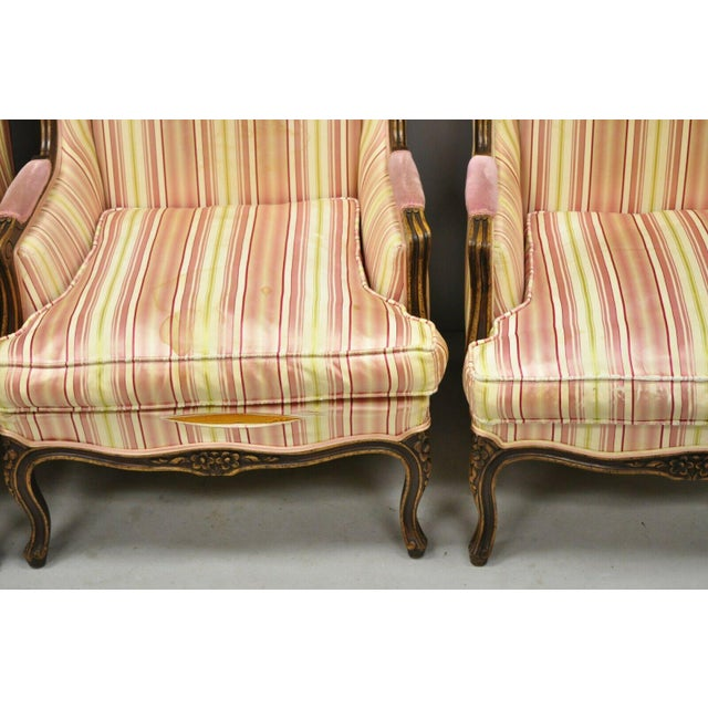 Fabric Vintage Mid Century French Louis XV Style Wingback Bergere Armchairs - A Pair For Sale - Image 7 of 12