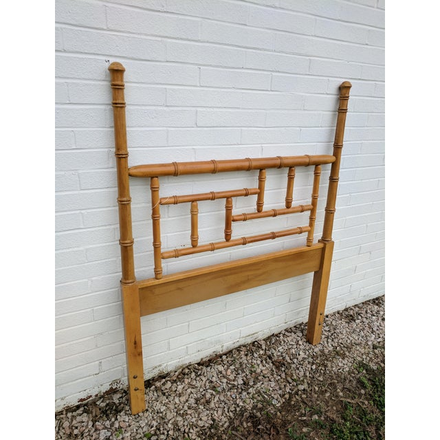 Faux Bamboo Chippendale Wooden Poster Twin Headboard For Sale - Image 4 of 9
