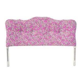 Rhinestone Buttoned Pink Paisley Full Headboard For Sale