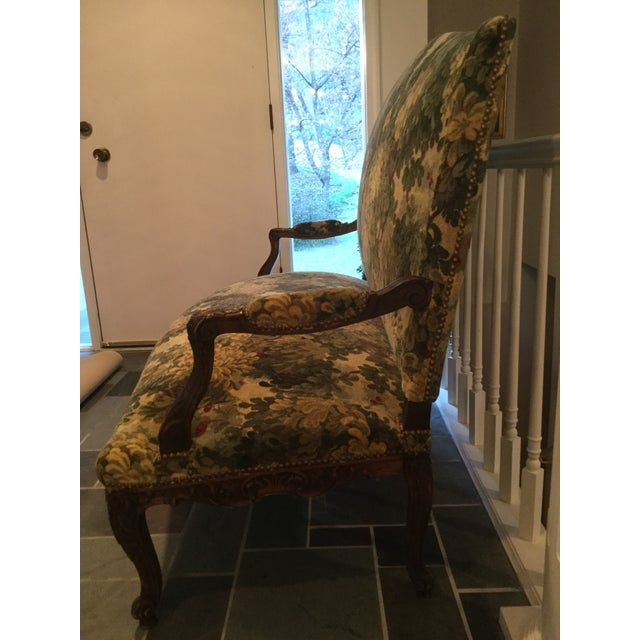 French 19thC Settee Covered in Scalamandre Marly Forest Green Fabric For Sale - Image 10 of 12
