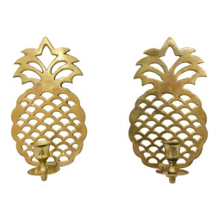 Pair Vintage Brass Pineapple Sconces For Sale