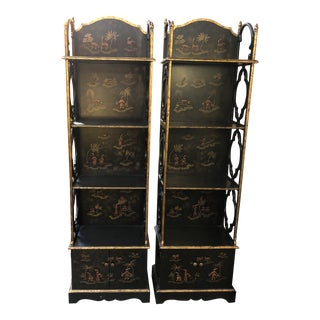 20th Century Chinoiserie Black Lacquer Etageres - a Pair For Sale