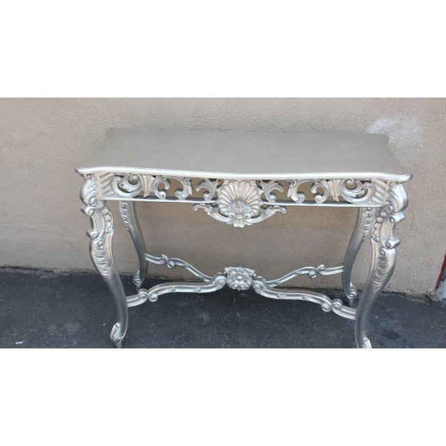 Louis XV Silver Hand-Carved Mahogany Console Table - Image 2 of 6