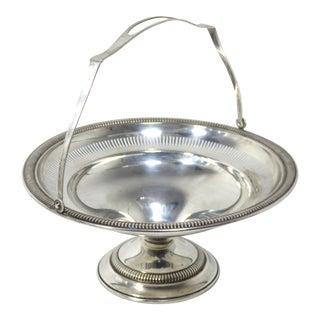 1950s Vintage Sterling Silver Mint Candy Serving Basket For Sale