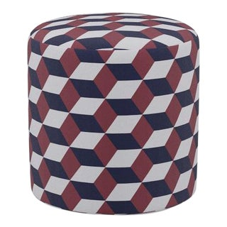 Drum Ottoman in Red Navy Cube For Sale