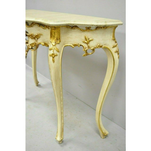 Gold 20th Century French Louis XV Rococo Cream & Gold Gilt Console Table For Sale - Image 7 of 11