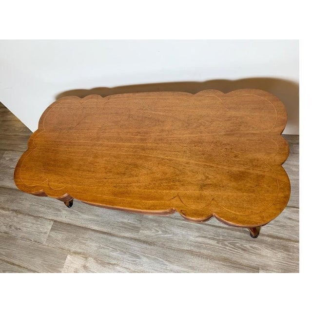 Wood 1940s Rustic Distressed Finish Inlaid Mahogany Coffee Table For Sale - Image 7 of 13