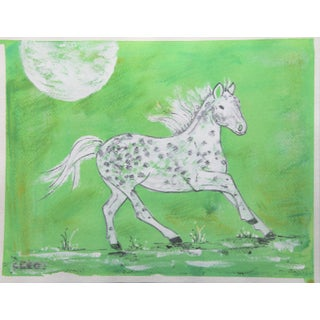 Horse Chinoiserie Painting by Cleo Plowden For Sale