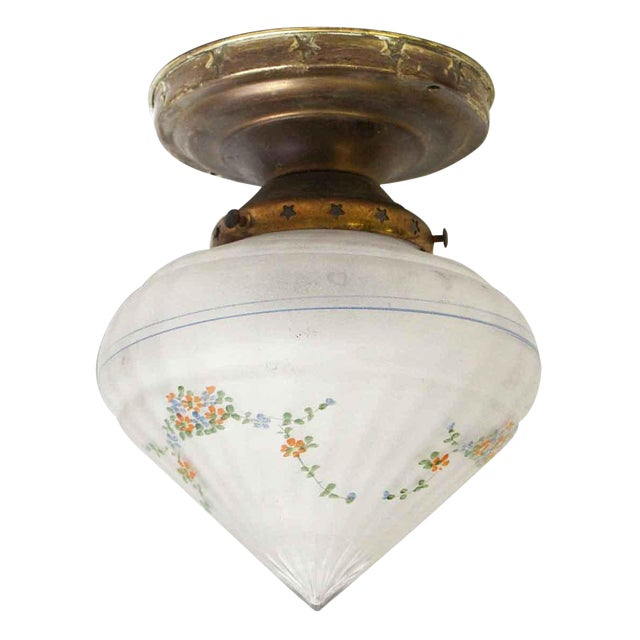 Floral Glass Shade With Brass Fixture & Star Detail For Sale