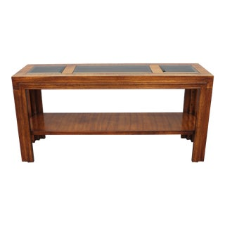 1960s Mid Century Modern Carved Walnut/ Glass Insert Console Table