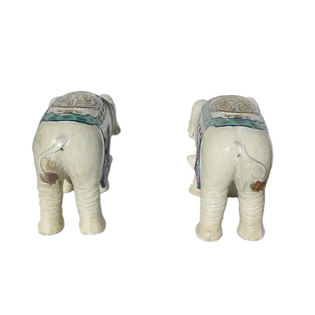 Ceramic Off White Oriental Elephant Figures - Pair For Sale In San Francisco - Image 6 of 7