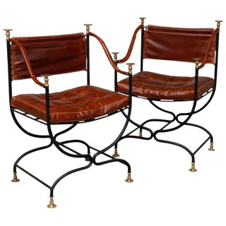 1950s Italian Leather & Iron Campaign Chairs - A Pair
