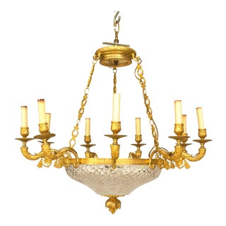 Late 19th C. French Empire Style Gilt Bronze and Crystal Chandelier For Sale