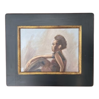 Figural Portrait Painting of Woman in Vintage Frame For Sale