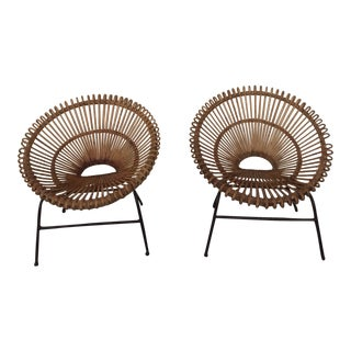 Mid Century Vintage French Wicker Chairs- A Pair For Sale
