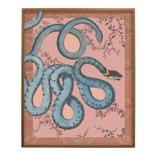 """Les Serpentes"" Snakes, Flowers, and Textile Pattern Print For Sale"
