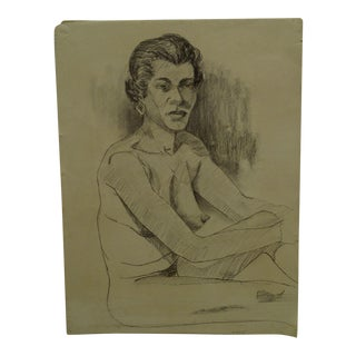 """1955 Mid-Century Modern Original Drawing on Paper, """"Nude With Earrings and Lipstick"""" by Tom Sturges Jr. For Sale"""