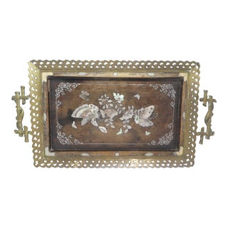 19th C Victorian Aesthetic Movement Bronze Tray W Mother of Pearl Inlay of Butterflies with Hairy Paw Feet For Sale
