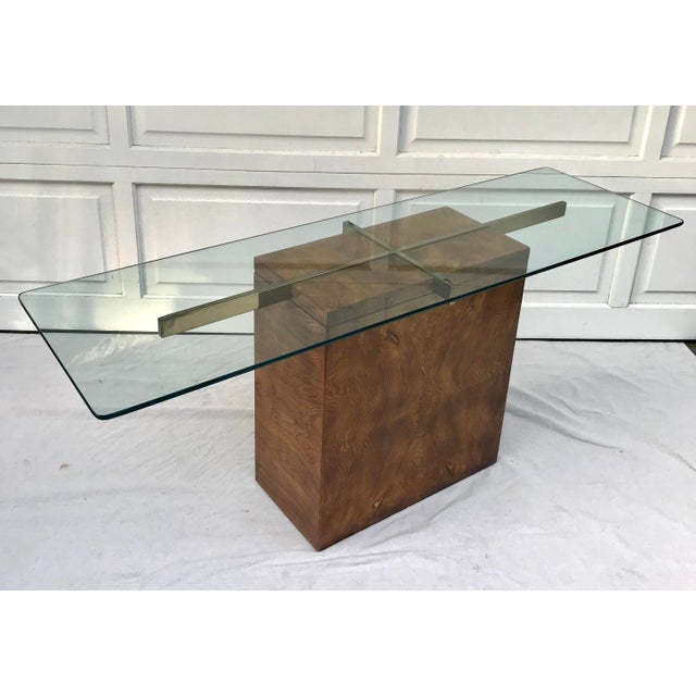 Lane Furniture Vintage Lane Burl Wood Console Table For Sale - Image 4 of 12