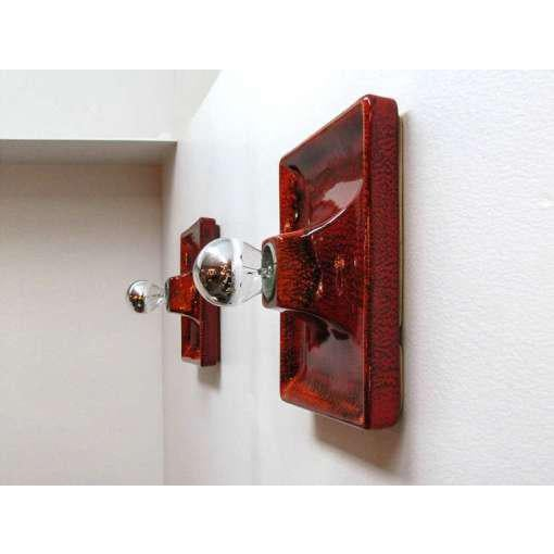 1970s Red Ceramic Wall Sconces - A Pair For Sale - Image 5 of 9