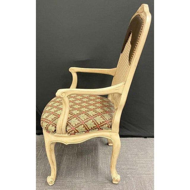 French Set of 14 Louis XV Style Pickled Distress Dining Chairs For Sale - Image 3 of 13