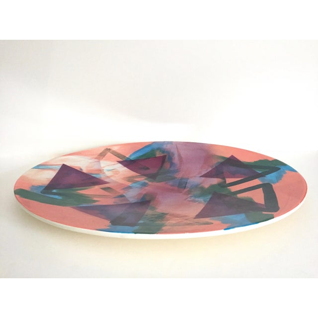 Abstract Vintage 1988 John Bergen Studio Pottery Post Modern Memphis Extra Large Oval Ceramic Platter Centerpiece For Sale - Image 3 of 13