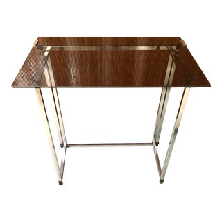 Large Glass and Chrome Tray Table For Sale