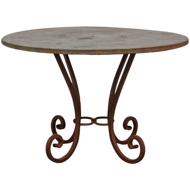 Wrought Iron and Copper Round Dining Table For Sale - Image 12 of 12