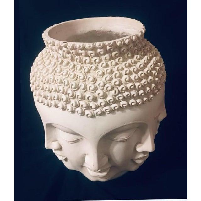 Ceramic Fornasetti Dora Maar Style Multi Face Asian Buddha Planter / Vase For Sale - Image 7 of 12