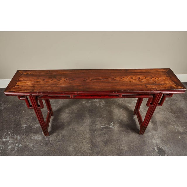 Mid 18th Century 18th C. Chinese Red Lacquer Elm Altar Table For Sale - Image 5 of 9