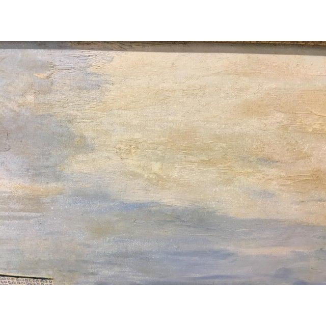 Blue Vintage Mid-Century East Coast Windmill Landscape Painting For Sale - Image 8 of 13